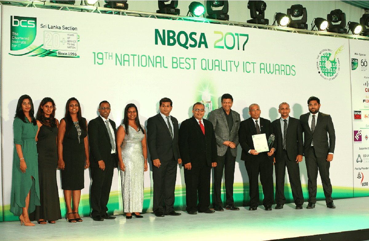 [image]The John Keells IT team with the Gold Award at NBQSA 2017